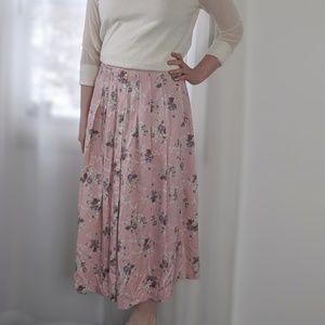 Vintage Dusty Rose Pink Floral Print Midi Skirt